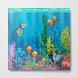Undersea with Nautilus Metal Print