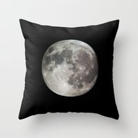 the moon Throw Pillows featuring Moon by Matt Bokan