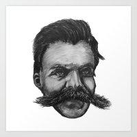 nietzsche Art Prints featuring Super Mustache by ZW Wheeler
