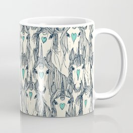 unicorn love indigo mint pearl Coffee Mug