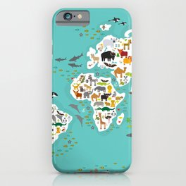 Cartoon animal world map for children and kids, Animals from all over the world back to school iPhone Case