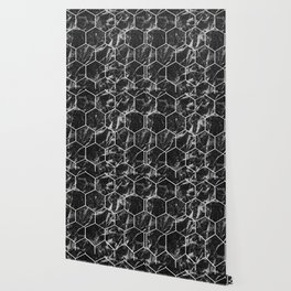 Black Campari marble - hexagons Wallpaper