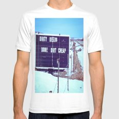 Dirty Deeds White Mens Fitted Tee SMALL