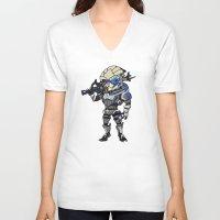 garrus V-neck T-shirts featuring Mass Effect 3: Garrus Vakarian Chibi by SushiKitteh'sCreations
