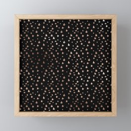 Black & Rose Gold Star Pattern Framed Mini Art Print