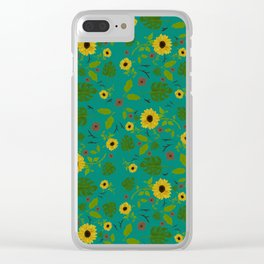 Sunflower & Monstera Leaf Clear iPhone Case