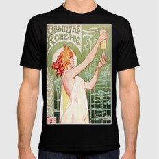 Absinthe Robette Vintage Lithograph  Black Mens Fitted Tee MEDIUM