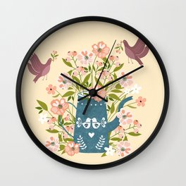 Happy Birds Making Things Beautiful Together Wall Clock