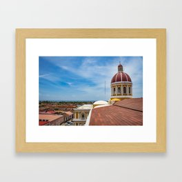 Looking towards Lake Nicaragua from Granada Cathedral Framed Art Print