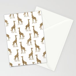Gold Glitter Giraffe Pattern Stationery Cards