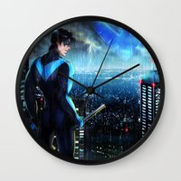 nightwing Wall Clocks featuring Nightwing by Cielo+