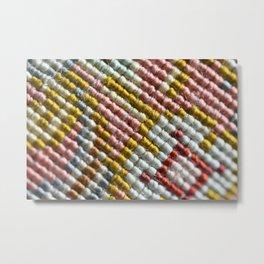 colorful zoom silk rug carpet knots pattern Metal Print