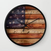 america Wall Clocks featuring america by Arken25