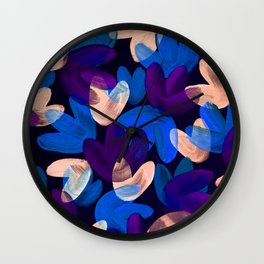 Vibrant Acrylic Painting Layered Tulips Floral Pattern Multi Colors Purple Blue Beige Wall Clock