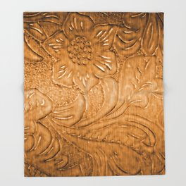 Golden Tan Tooled Leather Throw Blanket