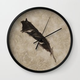 Antique Crow Feather Wall Clock