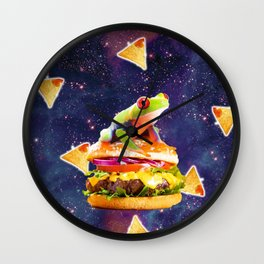 Space Red Eye Tree Frog Riding Burger With Nachos Wall Clock