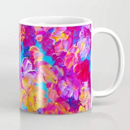 FLORAL FANTASY Bold Abstract Flowers Acrylic Textural Painting Neon Pink Turquoise Feminine Art Coffee Mug