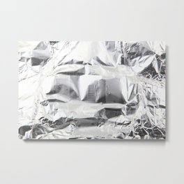 Close-Up Of Crumpled Aluminum Foil Metal Print