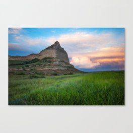 Scottsbluff - Landscape in Evening Light in Western Nebraska Canvas Print