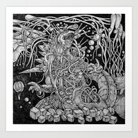 godzilla Art Prints featuring Godzilla by Walid Aziz