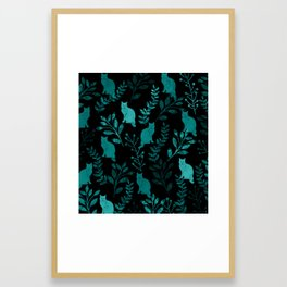 Watercolor Floral and Cat IV Framed Art Print