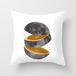 Orange Fruit Cut Open Moon Slices Throw Pillow