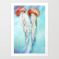 jelly fish Art Prints featuring Jelly Fish  by Felicia Cirstea