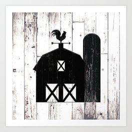 Faux White Wood & Black Barn Art Print