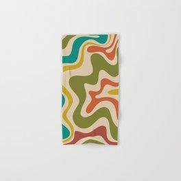 Liquid Swirl Retro Abstract Pattern in Mid Mod Colours on Beige Hand & Bath Towel