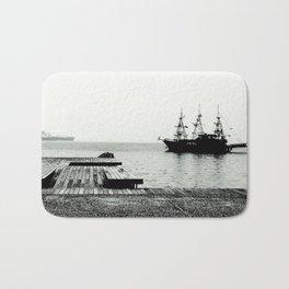 ships on a calm sea black and white Bath Mat