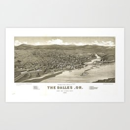 Vintage Pictorial Map of The Dalles OR (1884) Art Print