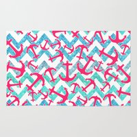 anchors Area & Throw Rugs featuring Anchors Confusion by Girly Trend
