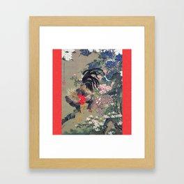 Jakuchu Niwatori Rooster Framed Art Print