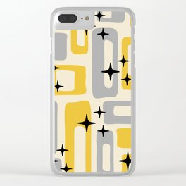 Retro Mid Century Modern Abstract Pattern 226 Yellow and Gray Clear iPhone Case