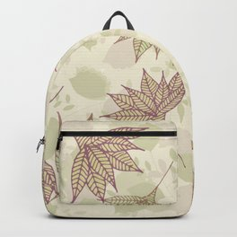 Pastel brown pink  green autumn leaves floral Backpack
