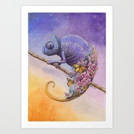 Chameleon | Watercolor Painting Art Print
