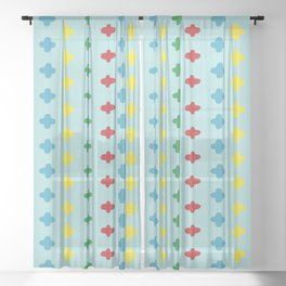 Colorful crosses stitches aligned on blue background Sheer Curtain