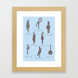 Nautical Knots (Light Blue and Brown) Framed Art Print
