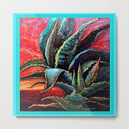 SURREAL DESERT AGAVE SUNSET SKY DESIGN ART Metal Print