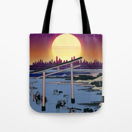 Synthwave Space: Views of mount Fuji #1 Tote Bag