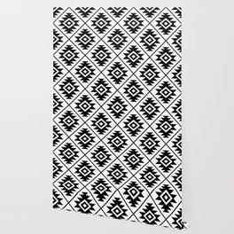 Aztec Symbol Pattern Black on White Wallpaper