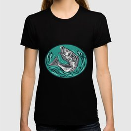 Rockfish Jumping Color Oval Drawing T-shirt