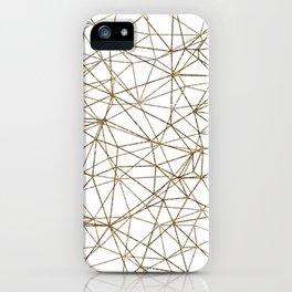 Geometric triangles glitter pattern. Modern stylish texture. Gold trendy glitter print background iPhone Case