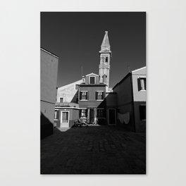 Burano cityscape, black and white photo Canvas Print