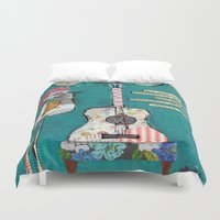 willy wonka Duvet Covers featuring Bird with guitar, willy wonka quote, mixed media, turquoise, whimsical by sunshine girl designs