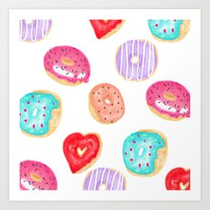Modern cool hand painted watercolor donuts pattern Art Print