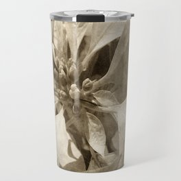 Pale Yellow Poinsettia 1 Antiqued Travel Mug