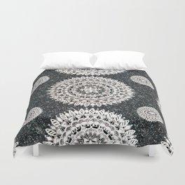 Black Glitter and Silver Mandala Textile Piece Duvet Cover