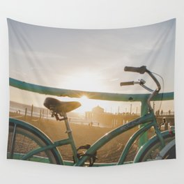 Bike & Beach in Sunny Manhattan Beach, California Wall Tapestry